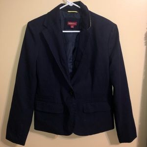 Navy blue blazer with a Green Accent